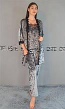 Комплект женский ночной халат и пижама майка штаны с кружевом.
