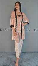 Комплект женский домашний халат и пижама майка штаны с кружевом.