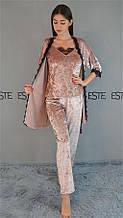 Велюровый комплект тройка халат майка штаны для сна и отдыха