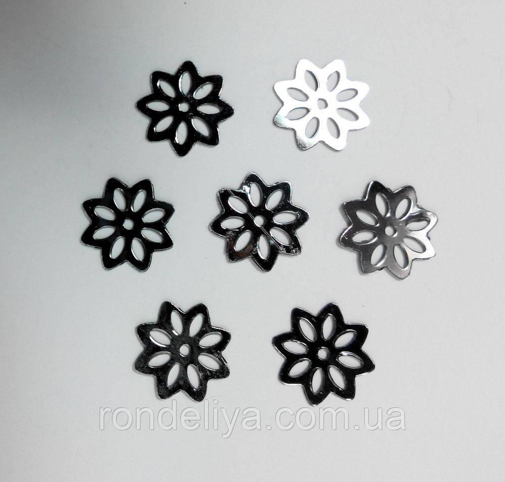 Пайетки цветочек графит 50 грамм