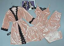 Комплект 4-ка халат майка шорты штаны мраморный велюр с кружевом 304-303-1