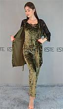 Комплект тройка халат майка штаны Este велюровый с  кружевом 313-300-1 хаки