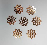 Пайетки цветочек золото красное 50 грамм