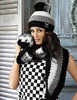 Модная шапочка и шарфик в полоску с помпоном от Kamea Польша.
