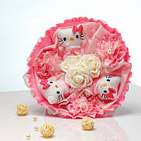 Букет из игрушек Котики 3 с розовыми заколочками
