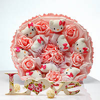 Букет из игрушек Котики 9 белые в розовом, фото 1
