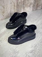 Жіночі зимові шкіряні чоботи з хутром 36-40 р чорний