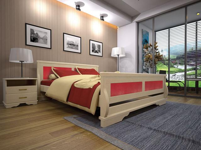 Кровать двуспальная Атлант №5 кожзам Флай 2210-каркас Лак в интерьере.