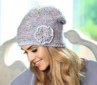 Зимняя шапка из разноцветных нитей с люрексом Wiola от Kamea.