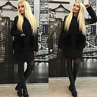 Кашемировое пальто с натуральным песцом на карманах, черный цвет