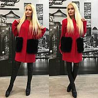 Кашемировое пальто с натуральным песцом на карманах, красный цвет