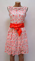 Платье Цветы ажурное белое/красное