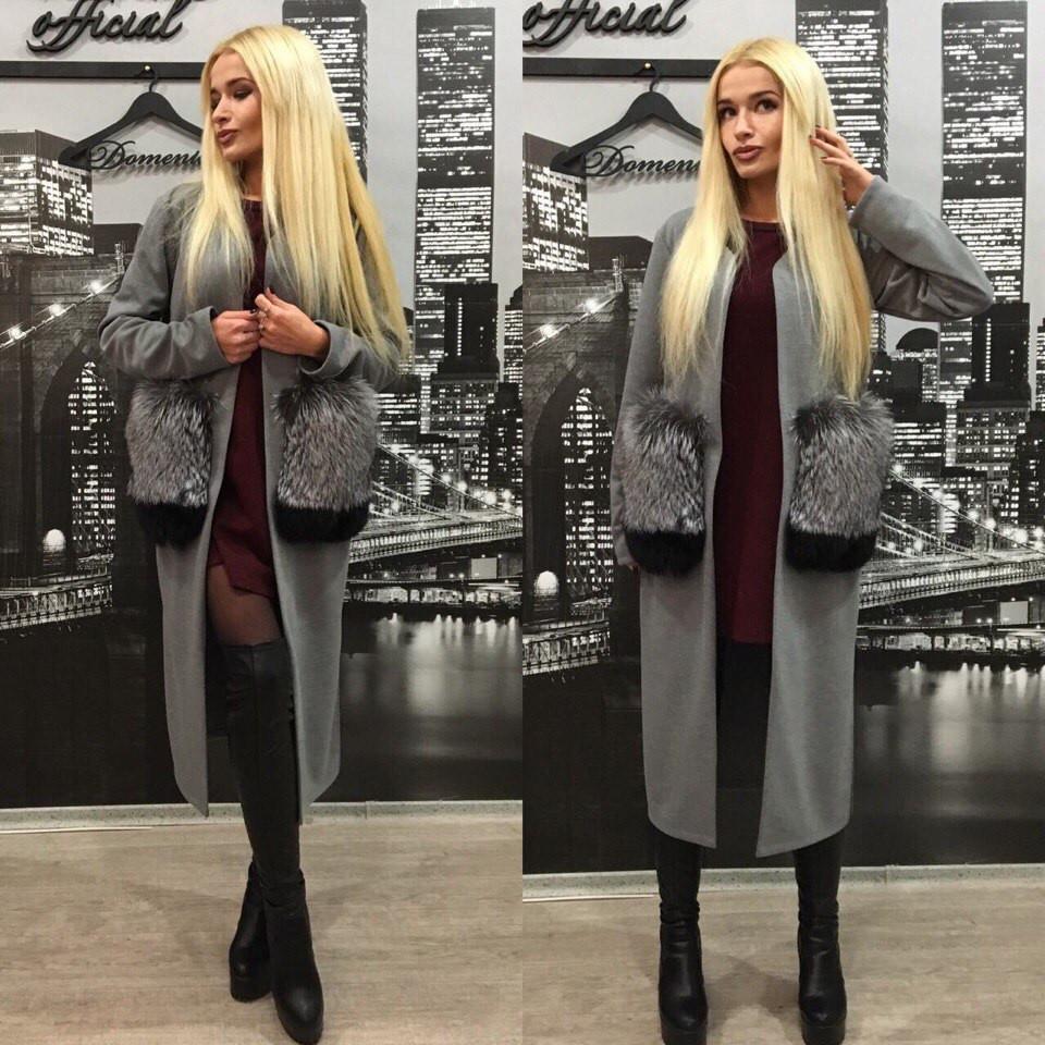 1ae8104e735 Кашемировое пальто ниже колена с натуральным мехом чернобурки на карманах