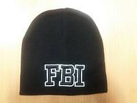Шапка  вязанная чёрного цвета принт FBI, компьютерная вышивка на заказ