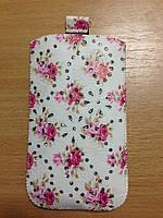"""Сумочка для мобильного телефона универсальная Light Pink Flowers (3,5""""/ 4,0"""" /4,8"""")"""
