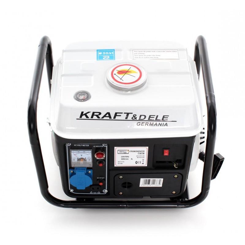 Генератор питания бензиновый Kraft&Dele 1200 Вт 12/230 В/2 КМ KD 109B портативный переносной для дома
