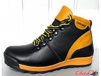 Ботинки подростковые зимние Timberland кожаные черные с желтым T0017