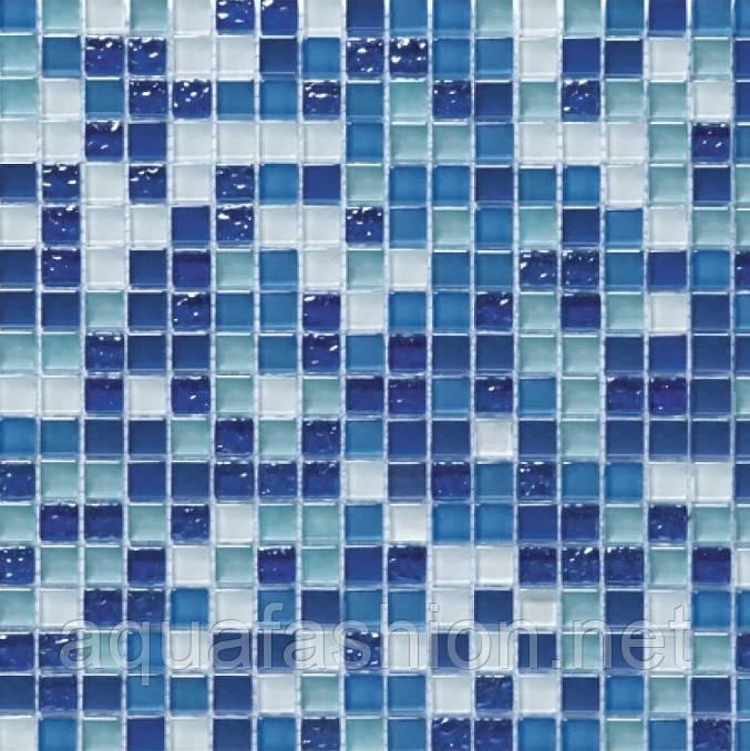 Микс голубая с синим стеклянная мозаика Vivacer DAF6