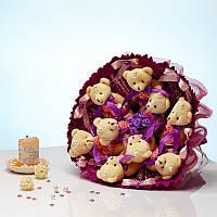 Букет из игрушек Мишки 9 в розово-фиолетовом