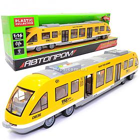 Машинка игрушечная Электричка Автопром «Городской Транспорт» желтый звук свет 43*6*9 см (7954AB)