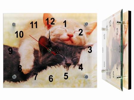 Часы настенные стекло Кошки Милашки