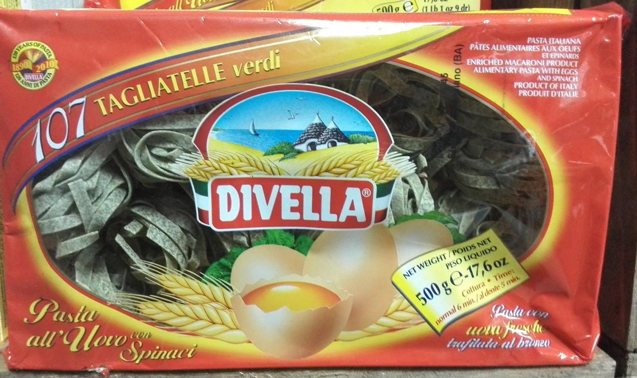Макароны гнезда со шпинатом Divella Tagliatelle Verde 500 гр.