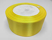 Лента атлас 4 см ярко-желтая