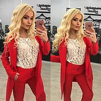 Стильный женский костюм-двойка: брюки и пиджак, красный цвет