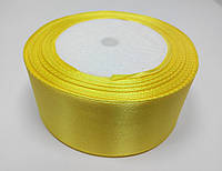 Лента атлас 4 см желтая
