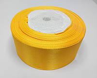 Лента атлас 4 см желтый подсолнух