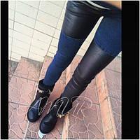 Женские джинсы + эко кожа высокго качества пояс на резинке 42-46