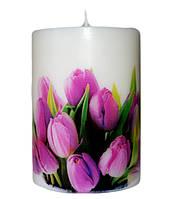 Свеча декоративная тюльпаны d-6  h-8 cm