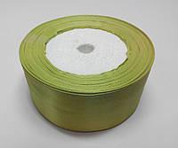 Лента атлас 4 см бледно-оливковый
