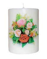 Свеча декоративная букет роз d-6  h-8 cm