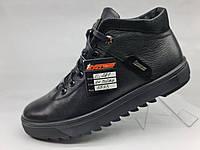 Зимние антискользящие кожаные мужские меховые ботинки на замочке
