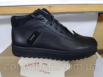Зимние антискользящие кожаные мужские ботинки на замочке