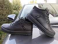 Зимние кожаные мужские ботинки на замочке ( с антискольжением )
