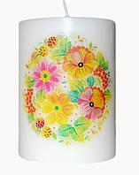 Свеча декоративная цветочные мотивы d-6  h-8 cm