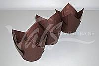 """Формочка для кексов """"Тюльпан"""" из пергамента, коричневая"""