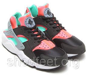Женские кроссовки Nike Air Huarache Black/Mint/Hot Lava