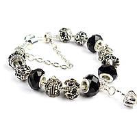 Роскошный браслет Pandora Style с черными бусинами