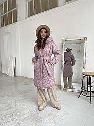 Трендовое женское зимнее стеганое пальто из плащевки Нон стоп 11882