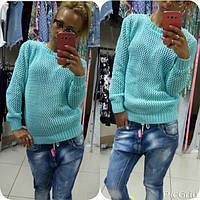 Женский ментоловый свитер-сетка  турция