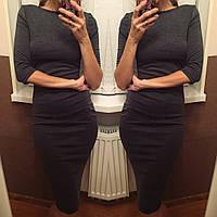 Классическое платье , рукав 3/4 темно-серый