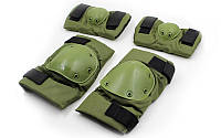 Наколенники + налокотники,  тактическая защита ,комплект, (ABS, полиэстер 600D, оливковый)