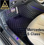 Килимки на Mercedes S Class W221 3D (2005-2013) Шкіряні з Текстильними Накидками, фото 2