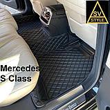 Килимки на Mercedes S Class W221 3D (2005-2013) Шкіряні з Текстильними Накидками, фото 3