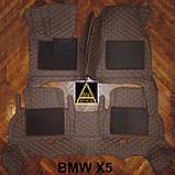 3D Килимки на Volkswagen Touareg (2002-2010) Шкіряні з Текстильними Накладками, фото 9