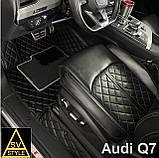 3D Килимки на Volkswagen Touareg (2002-2010) Шкіряні з Текстильними Накладками, фото 2