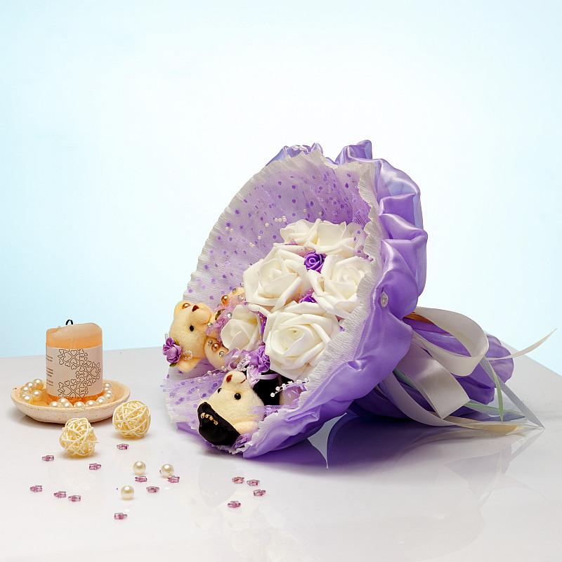 Букет из мягких игрушек Мишки Сладкая парочка фиолетовый
